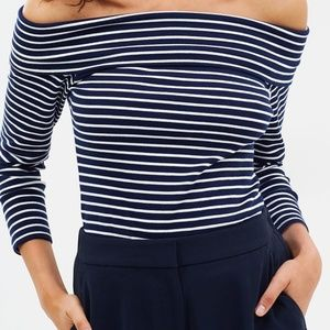 J Crew Off The Shoulder Foldover Striped Top